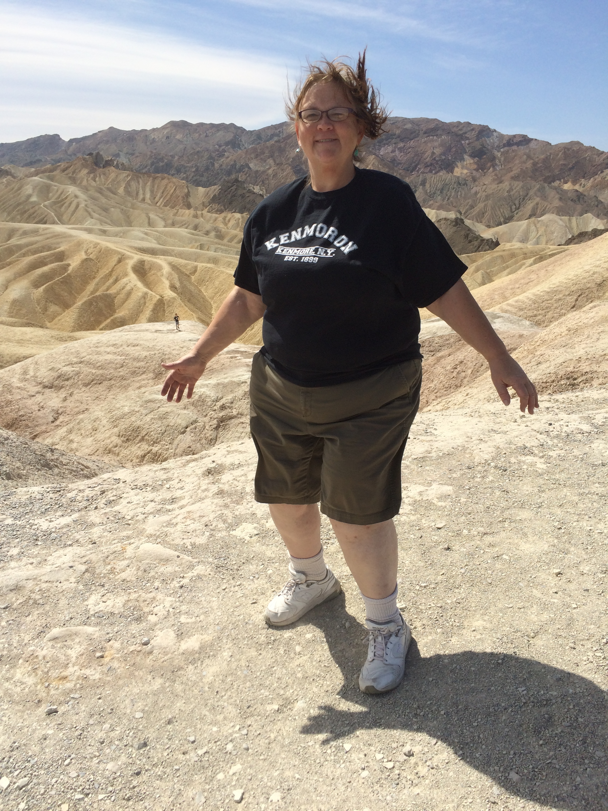 Trying not to be blown away at Zabriskie Point.