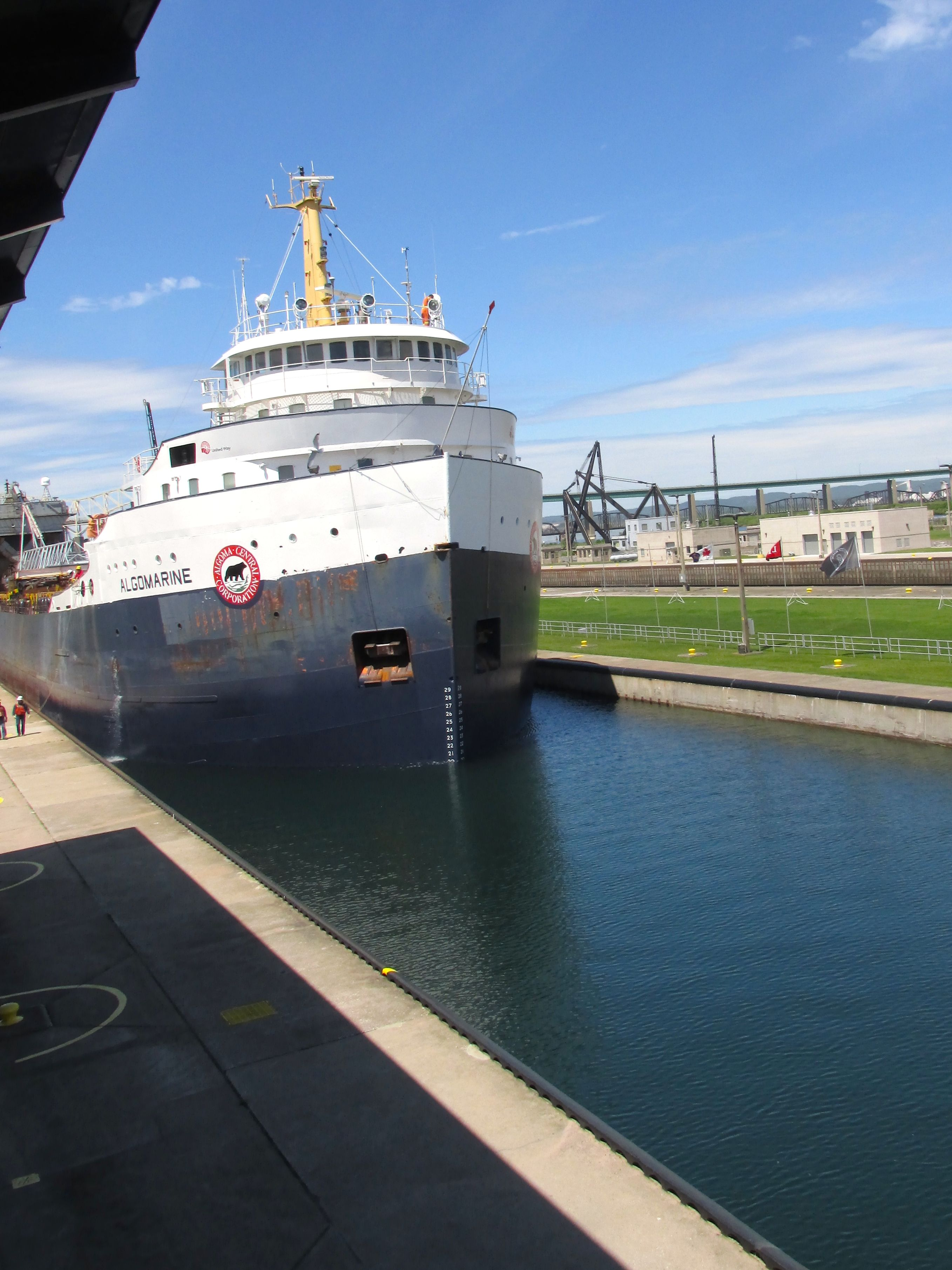 About one quarter of the way into the lock.