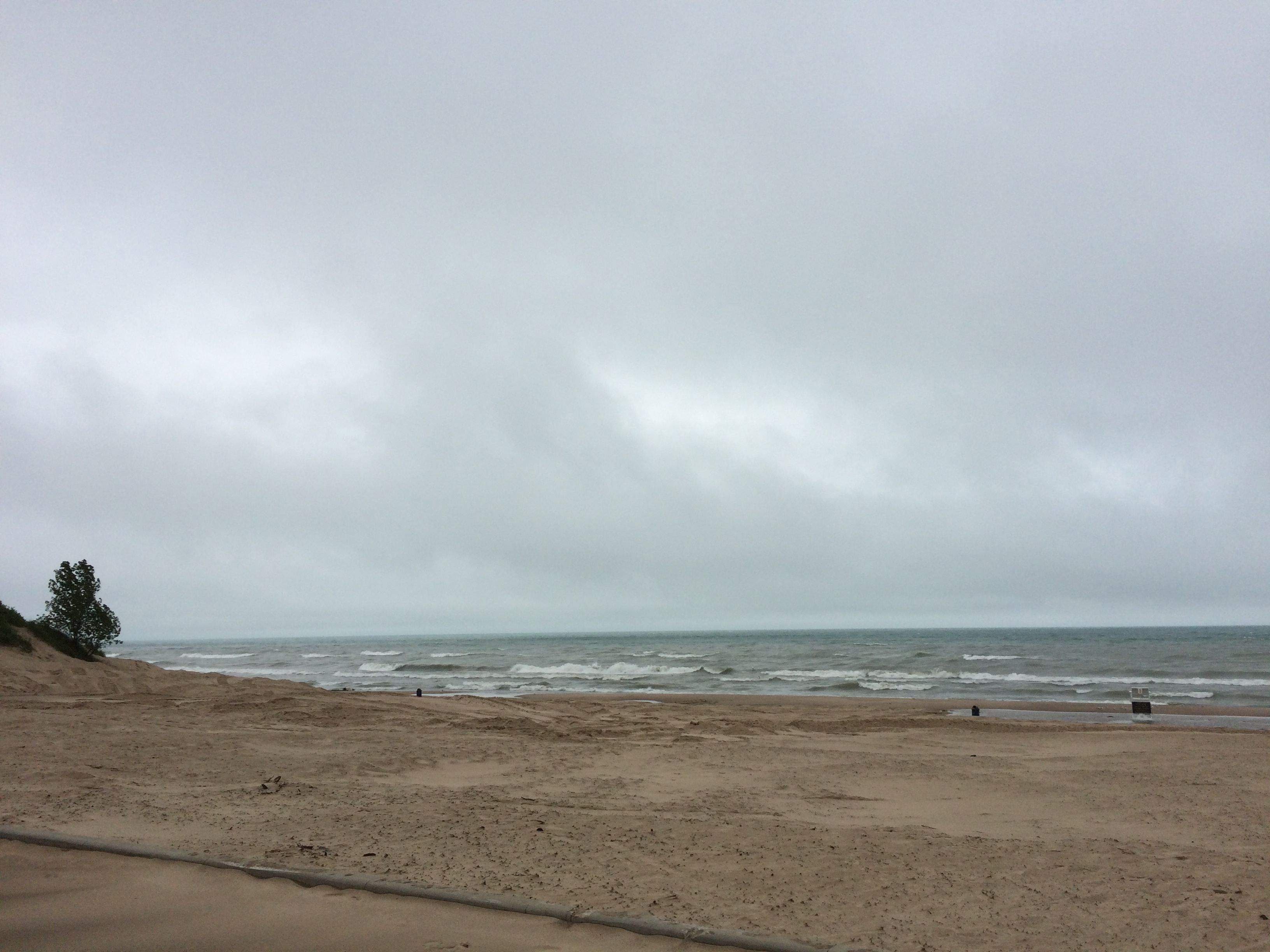 A view of the angry looking Lake Michigan from Indiana Dunes State Park.