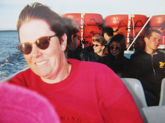 Teri celebrating her 50th birthday by taking a ride to Mackinaw Island
