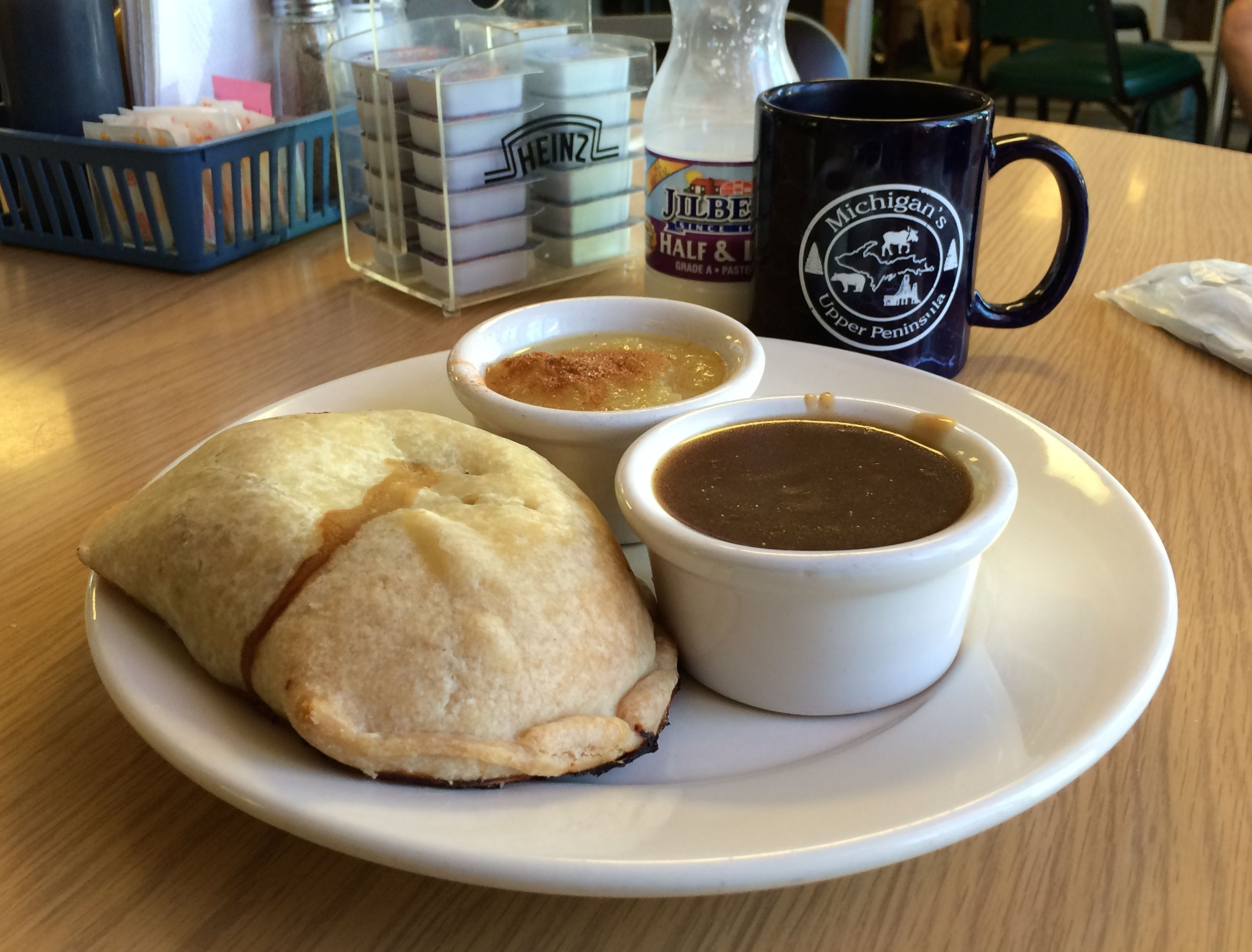 Pasty with gravy and applesauce at the Berry Patch in Paradise, MI