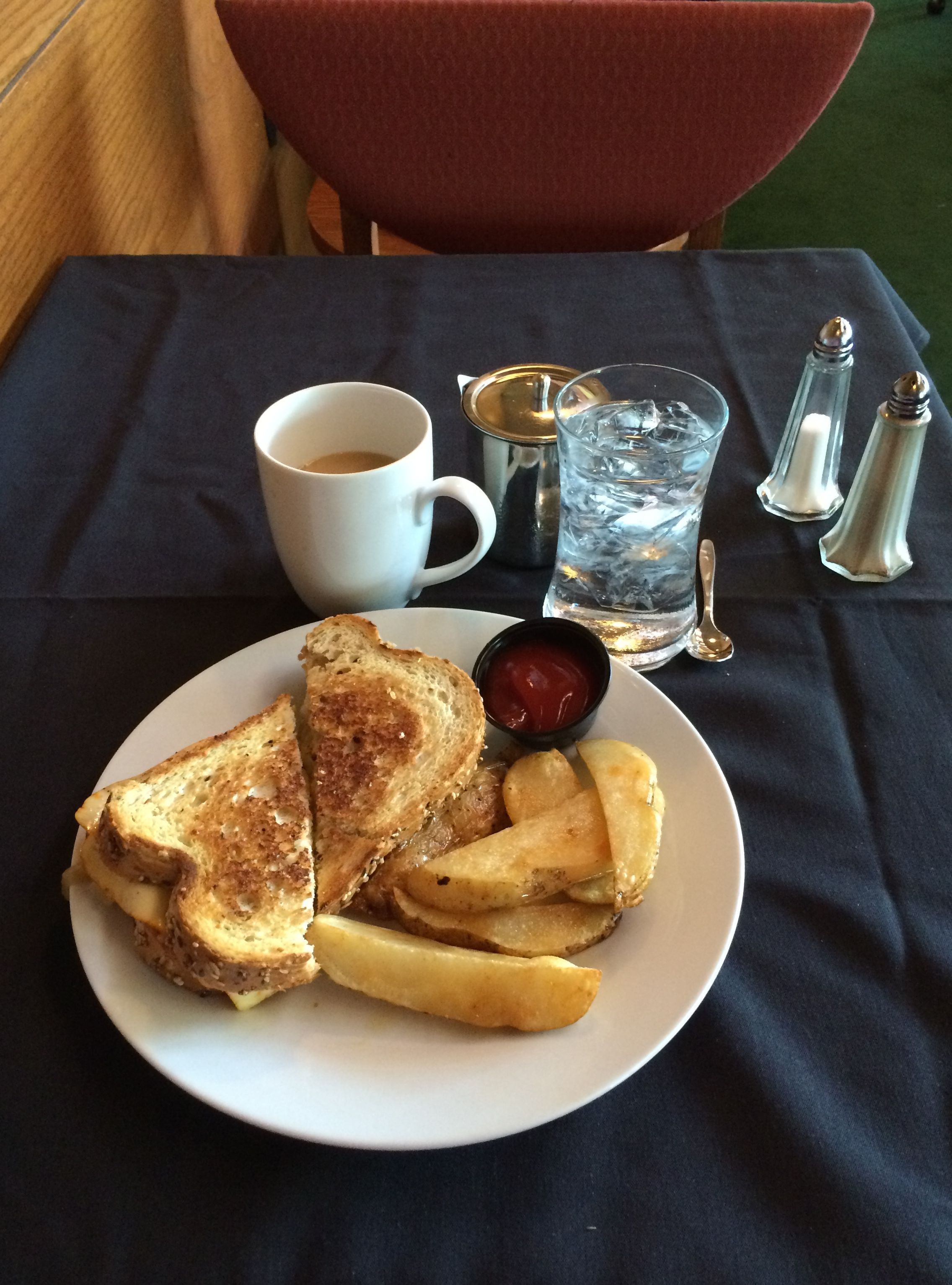 A Wisconsin lunch at Riverview Terrace Cafe in the Visitor's Center - a grilled cheese sandwich