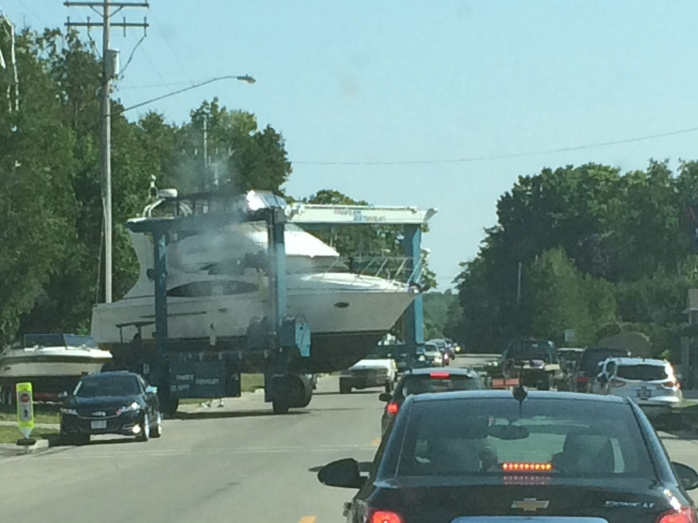 Why did the big boat cross the road?