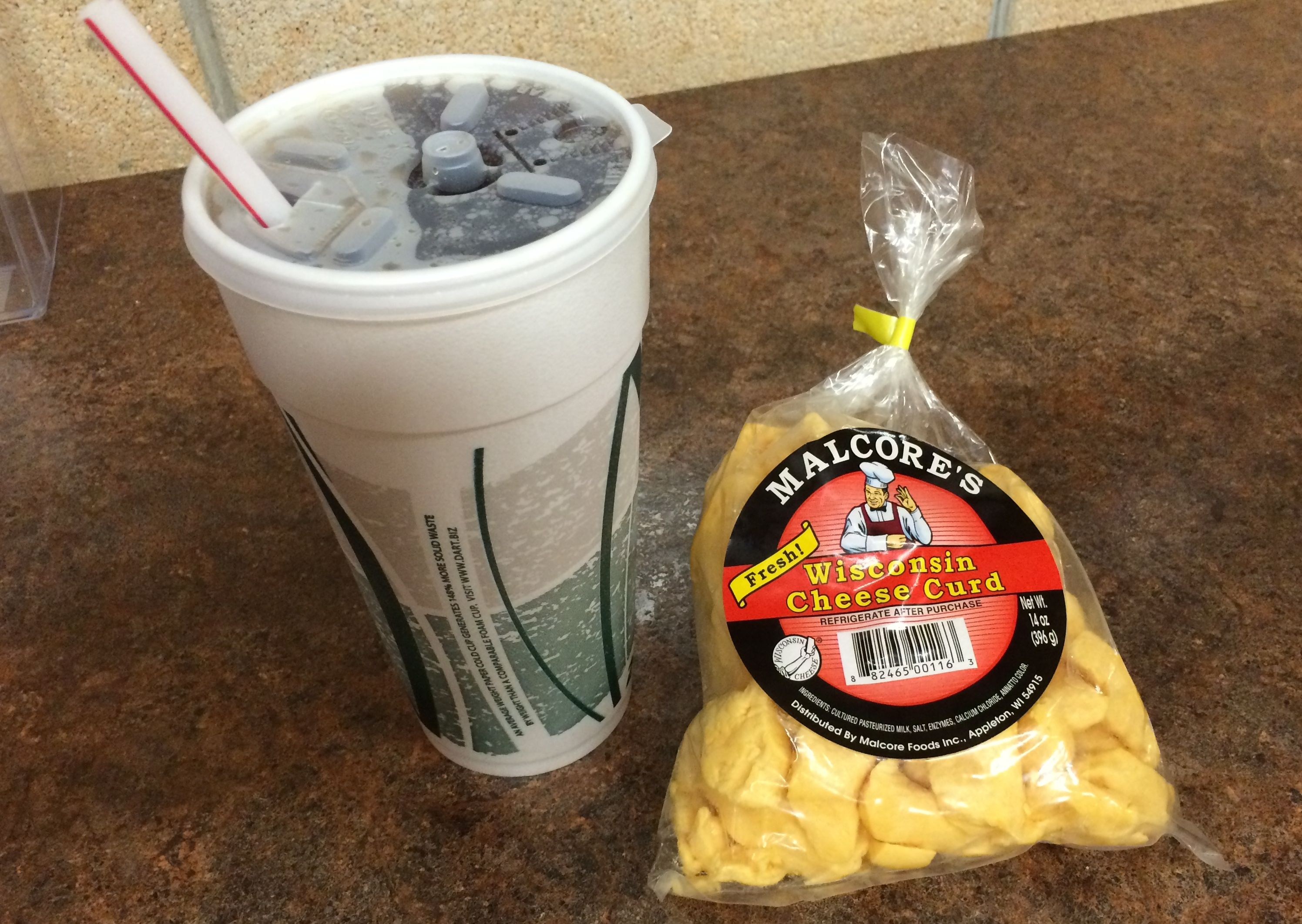 What's for lunch? A bag of cheese and a Diet Coke.