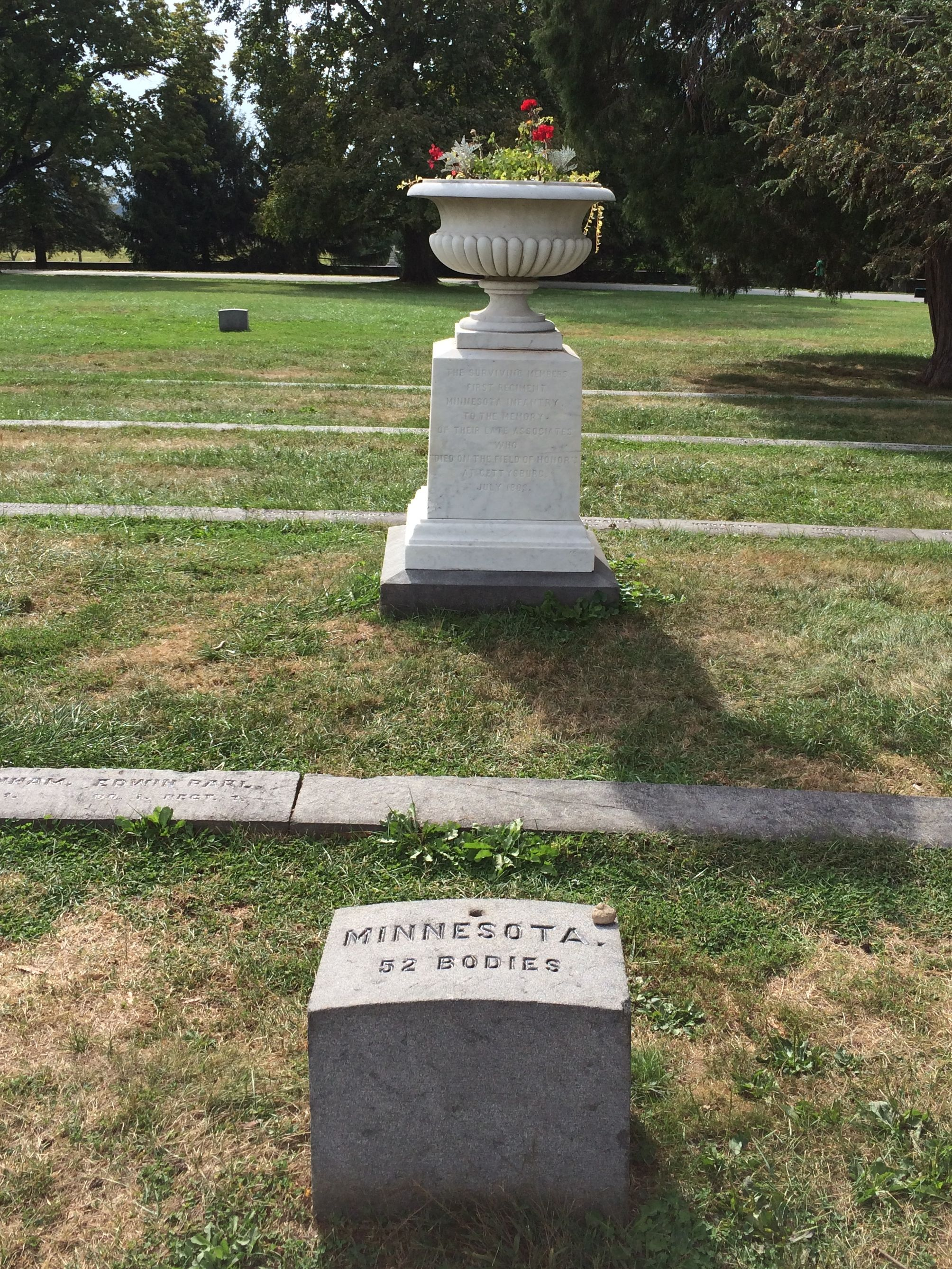 Urn placed by the veterans of the 1st Minnesota Infantry 1867