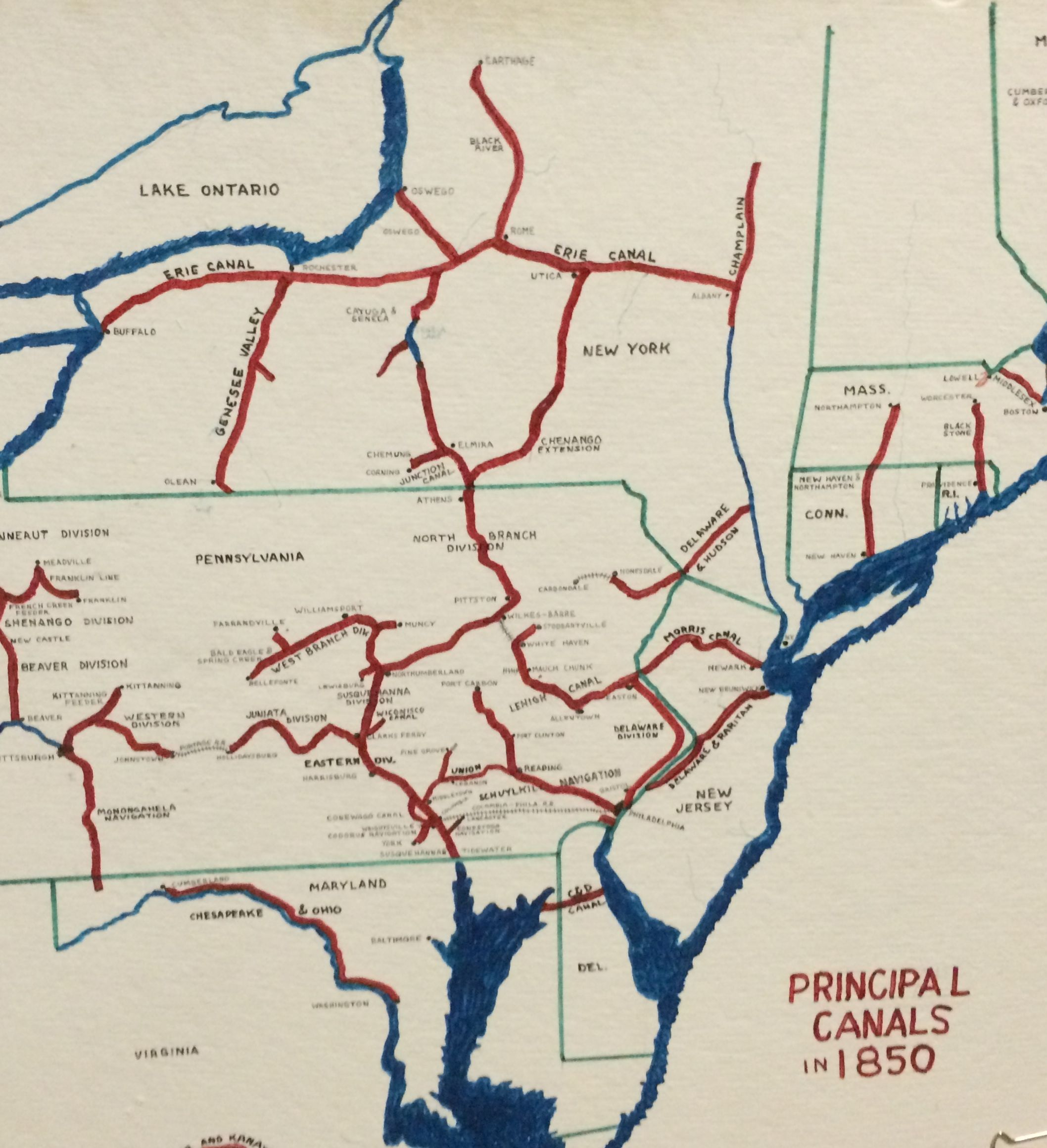 Principal canals in 1850