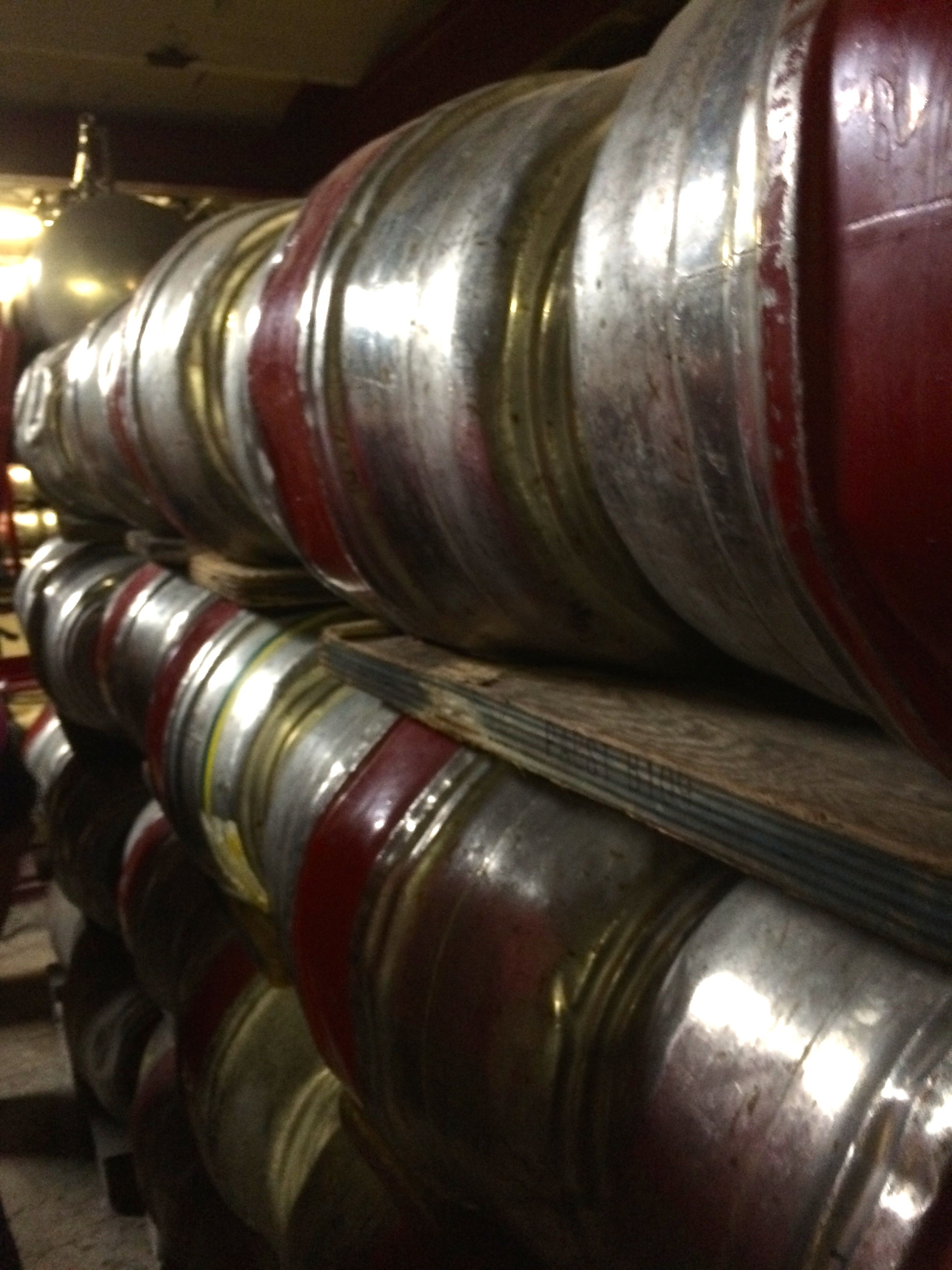 Racking room with old-style kegs