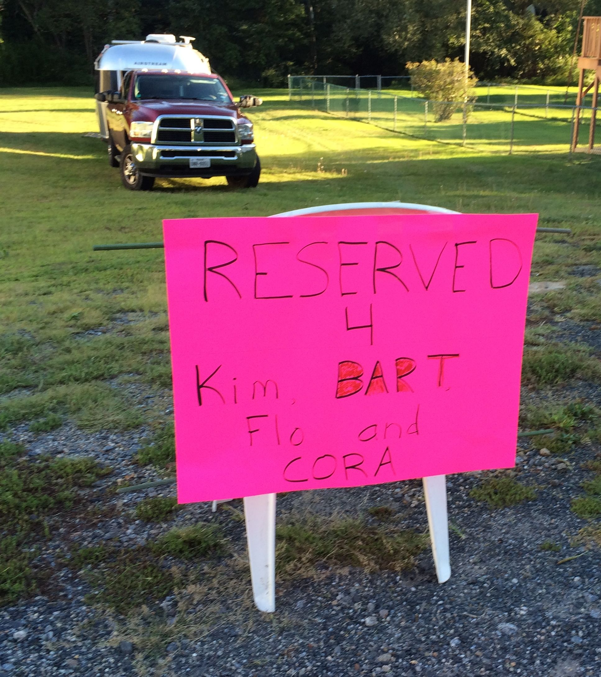 Reserved for Kim, Bart, Flo and Cora.