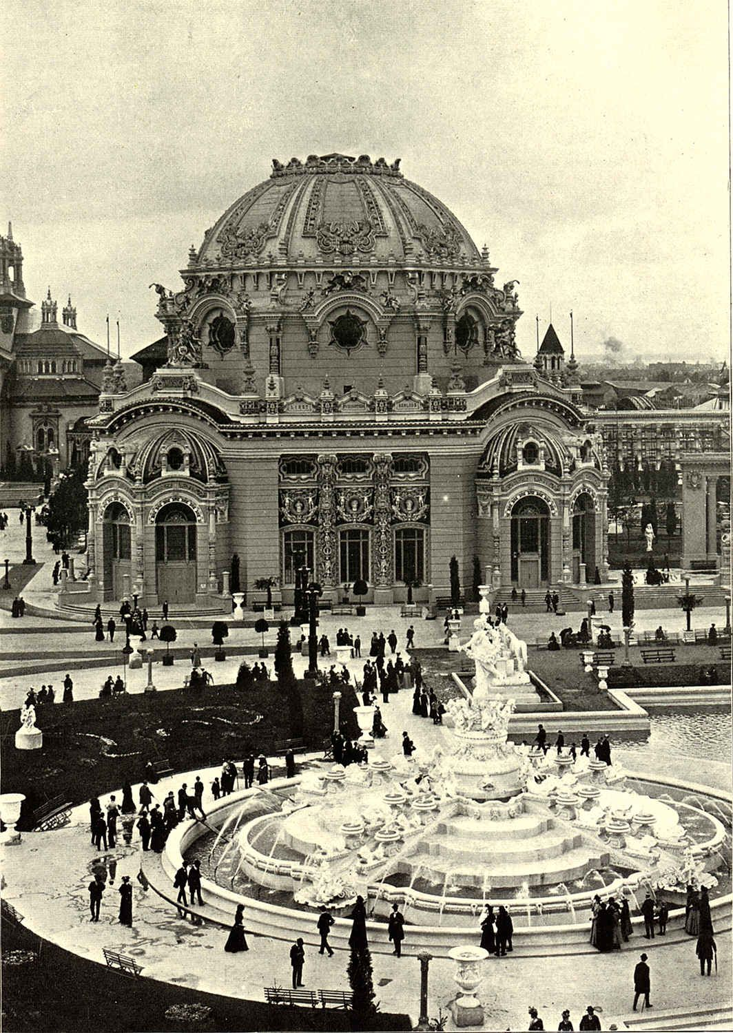 The Fountain of Abundance in front of the Temple of Music at the Pan American Exposition