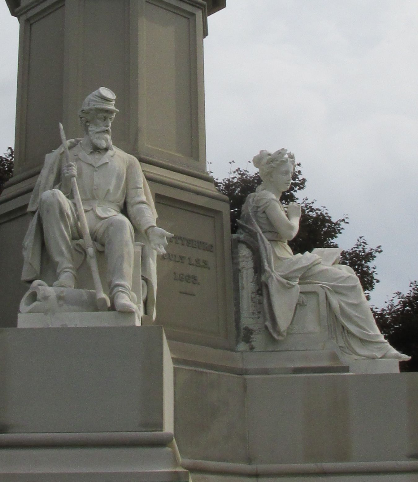 Close up figures soldiers monument