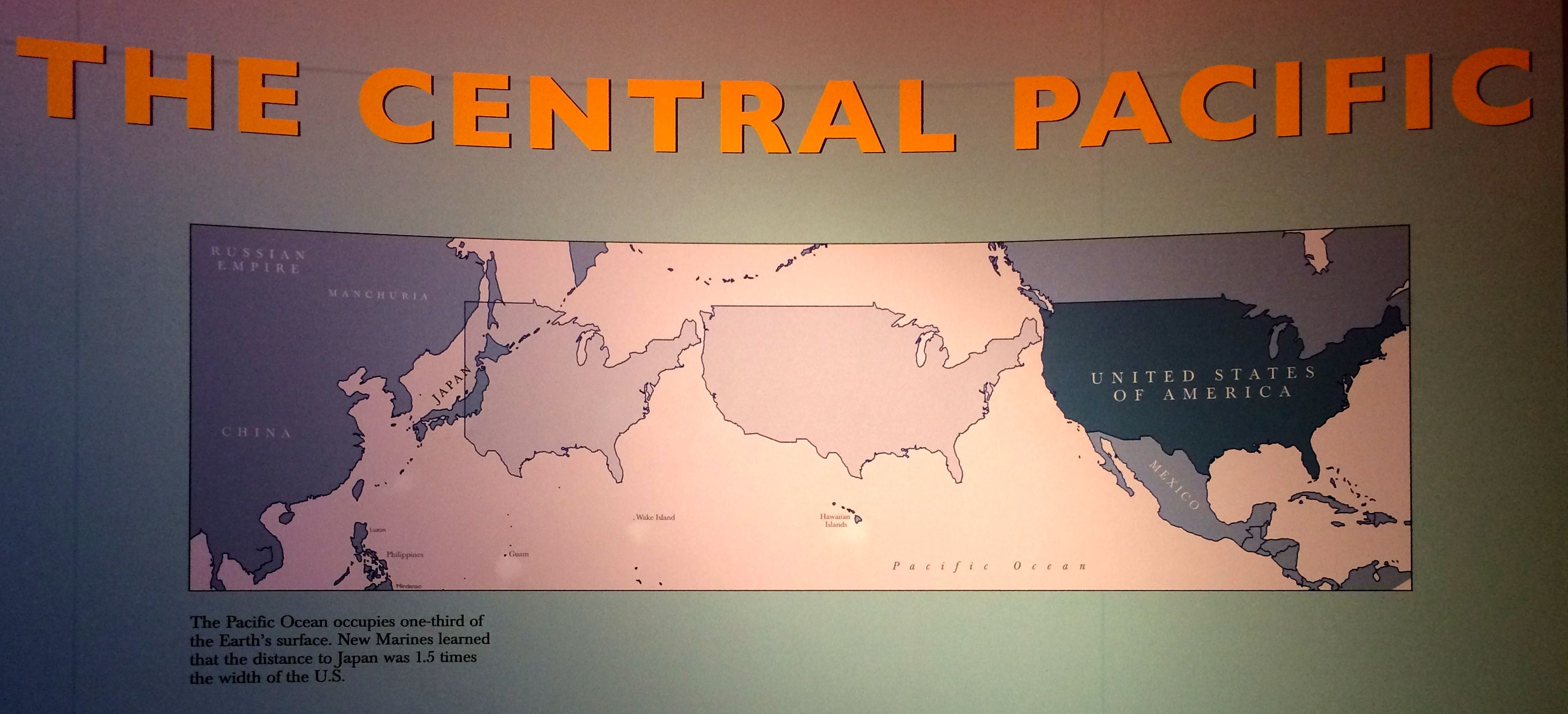 Map showing the relative size of the Central Pacific
