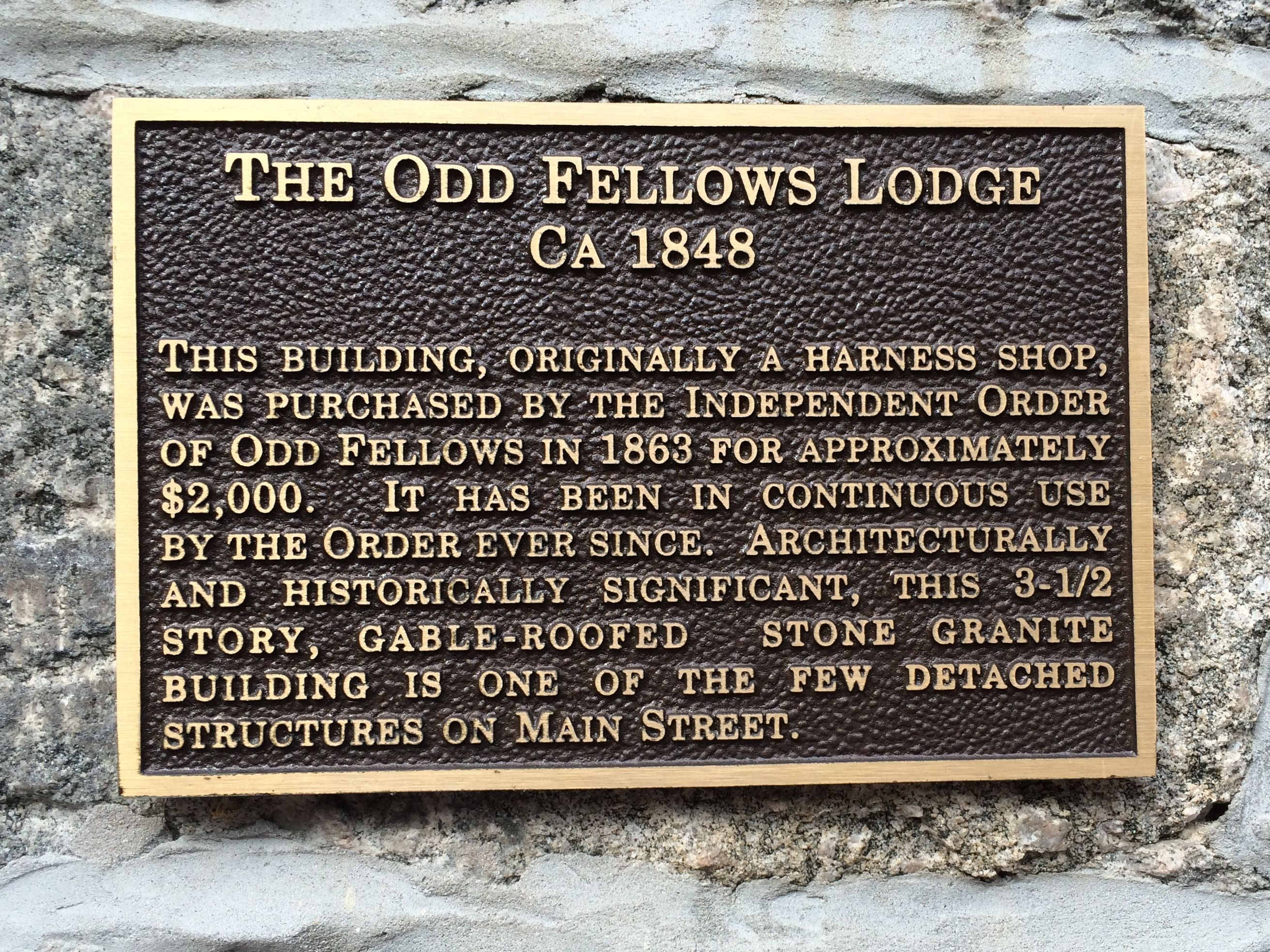 Oddfellows sign brass history plaque