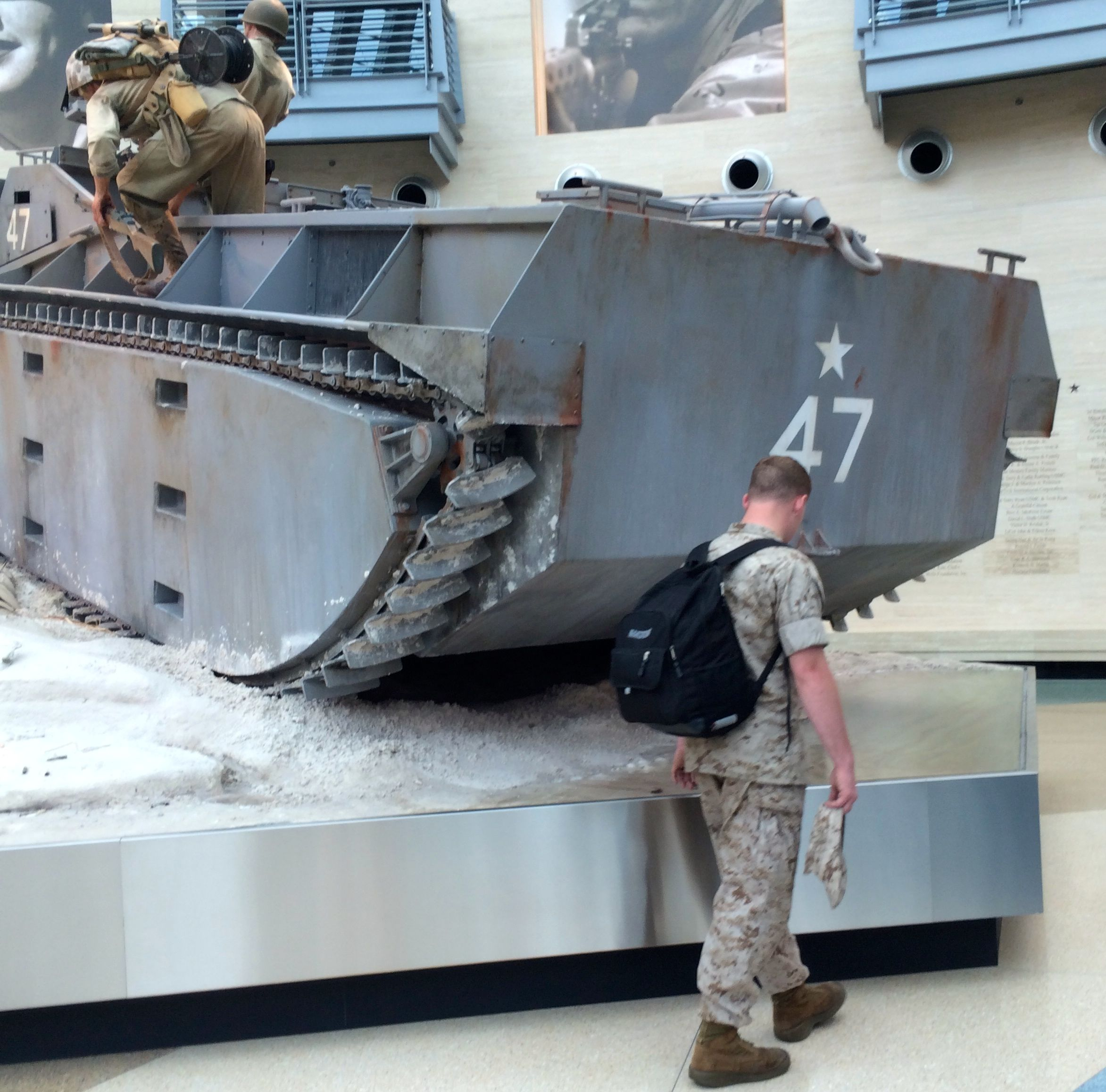 Tank in the lobby with actual marine