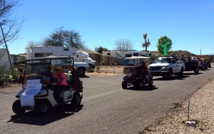 Golf cars on parade