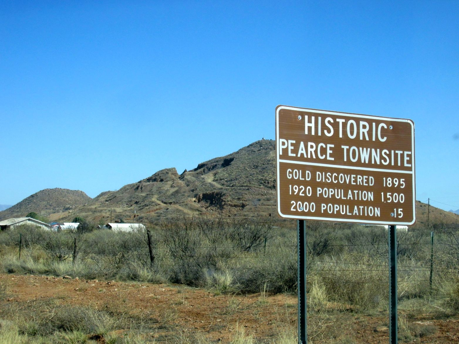 HIstoric Pearce Townsite sign