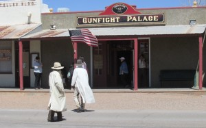 gunfight palace with guys in dusters
