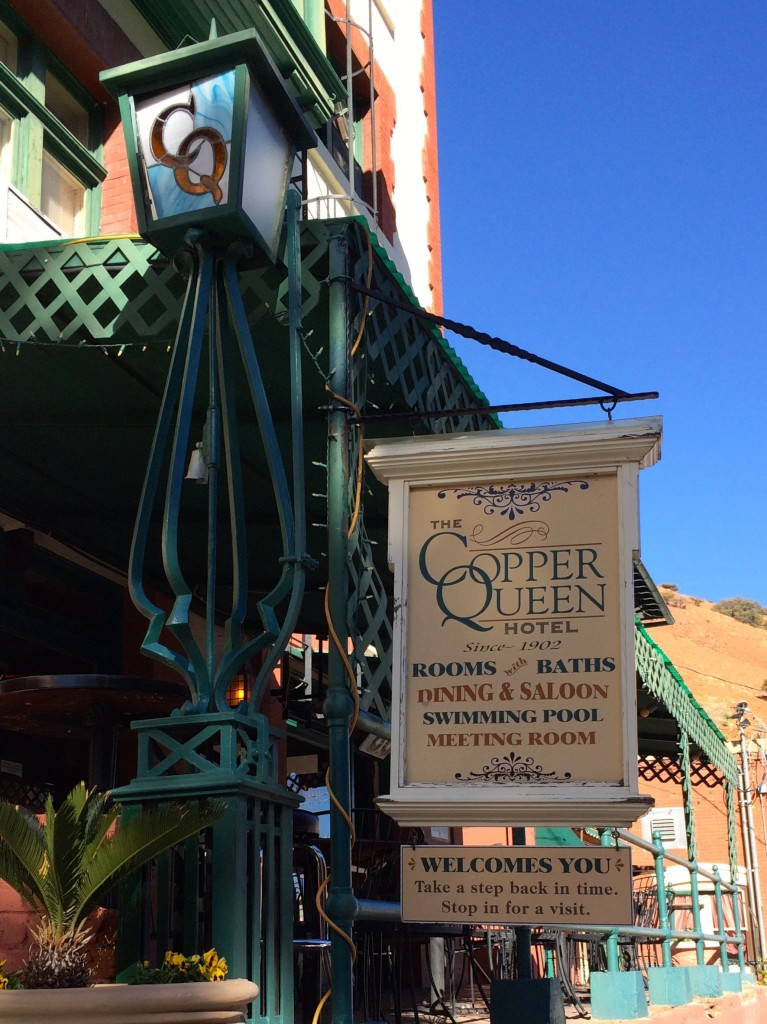 Sunday Bisbee Copper Queen Hotel light and sign