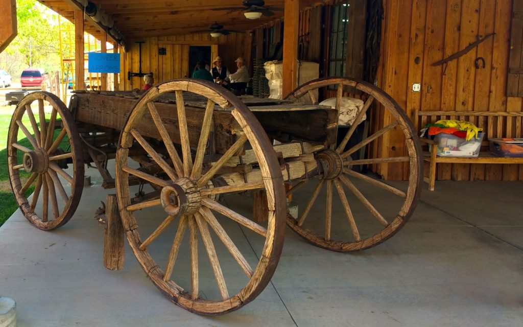 One ofthe original wagons to go through the hole in the rock trail