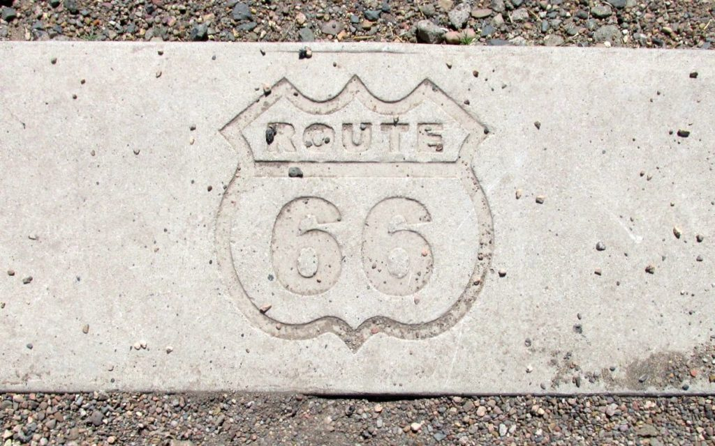 Route 66 sign in cement