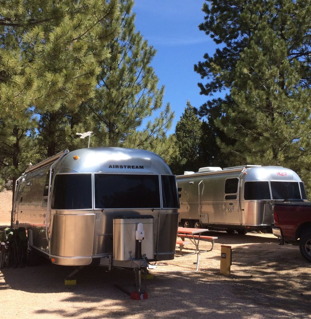 a pair of Airstreams