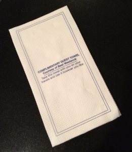 complementary guest towel