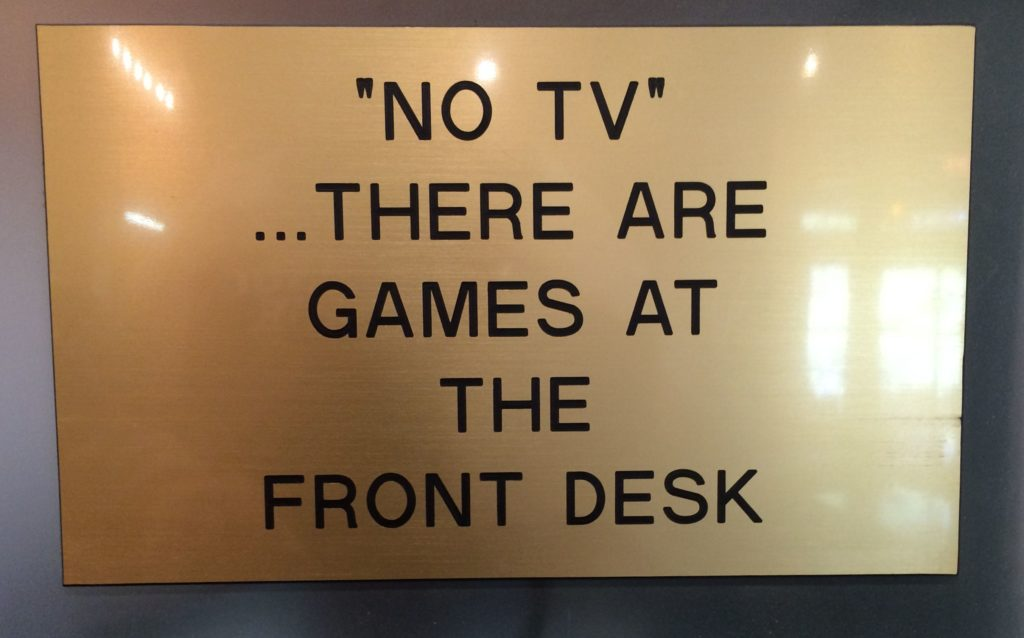 sign in lodge lobby - no TV