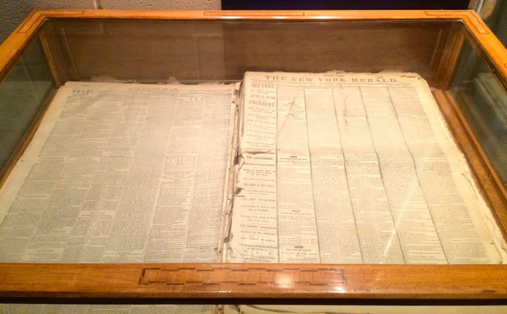 Paper from the day after Lincoln was shot