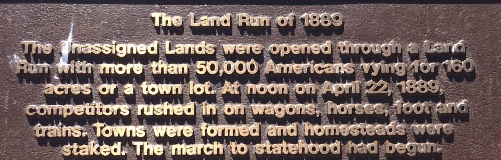 The Land Run of 1889 plaque