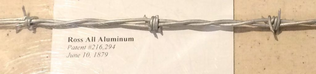 Aluminum barbed wire pattented 1879
