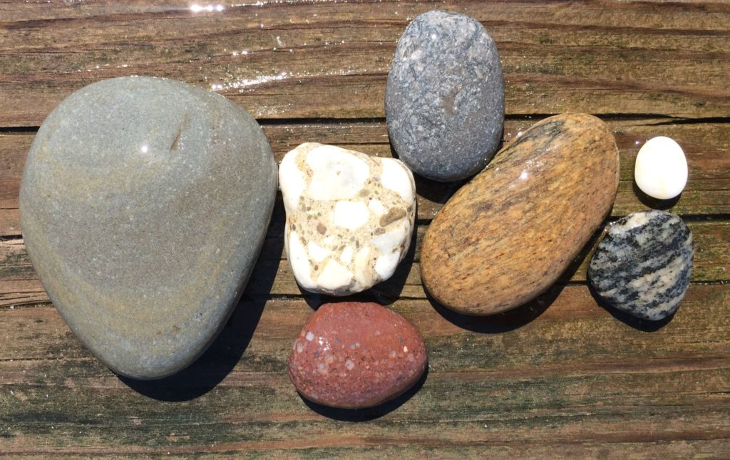 Assorted rocks wet
