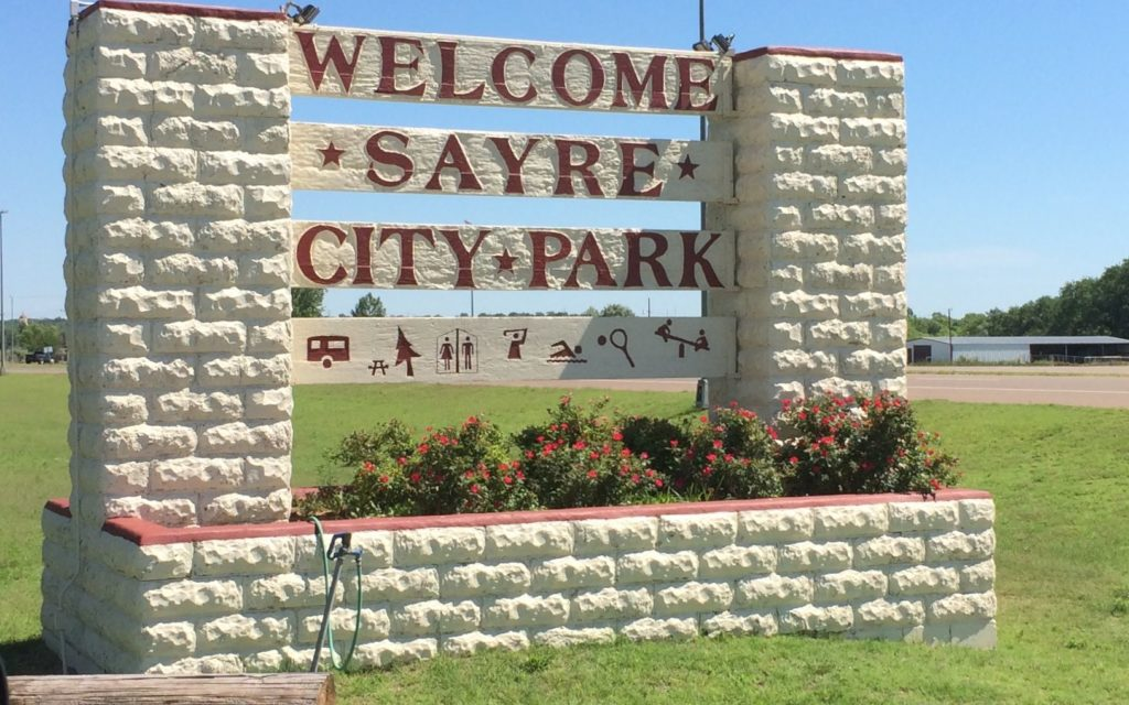 Welcome Sayre City Park sign