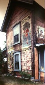 house with posters